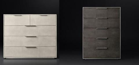 Smythson Shagreen five drawer dressers in dove/pewter and smoke/steel