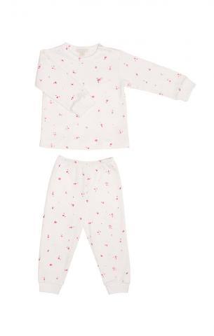 Children's two-piece pajama set in neon roses print