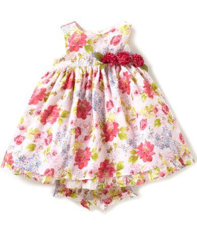 Laura Ashley London Girl's Floral Clip Dot dress with diaper cover
