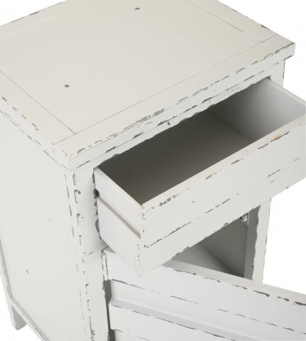 Detail view of recalled Audrey lingerie chest in white smoke