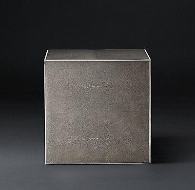 Smythson Shagreen side table smoke and steel