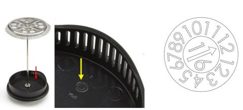 The date code dial is printed on the inside of the Bialetti coffee press plunger lid.