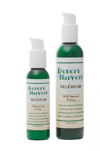 Desert Harvest Reléveum, 4 ounce bottle (left) and 8 ounce bottle (right).