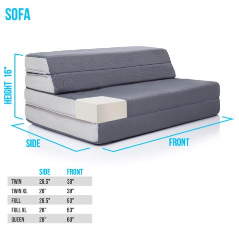 Recalled LUCID Folding Mattress-Sofa setup as a sofa.