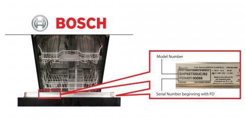 Ubicación del número de modelo y de serie de la lavavajillas Bosch