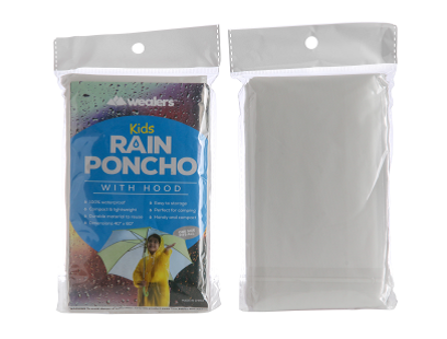 Wealers' kids clear rain poncho