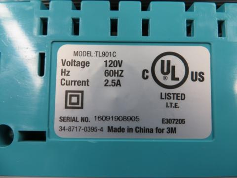 Sticker on bottom of recalled Scotch thermal laminators