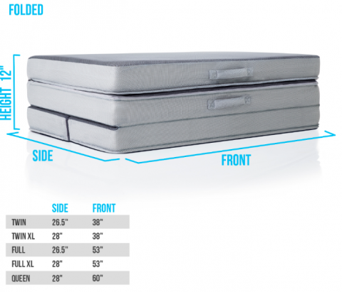 Recalled LUCID Folding Mattress-Sofa folded for storage.