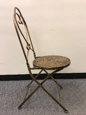 Bronze Hammered bistro chairs – side view