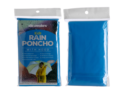 Wealers' kids blue rain poncho