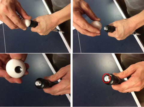 In order to read the batch number, the counterweight steel ball must be unscrewed by  hand.