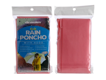 Wealers' kids red rain poncho