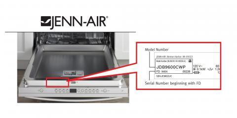 Ubicación del número de modelo y de serie de la lavavajillas Jenn-Air