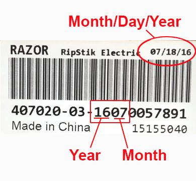 Bar code with manufacture date