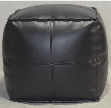 Front View of Target Room Essential leather pouf ottoman