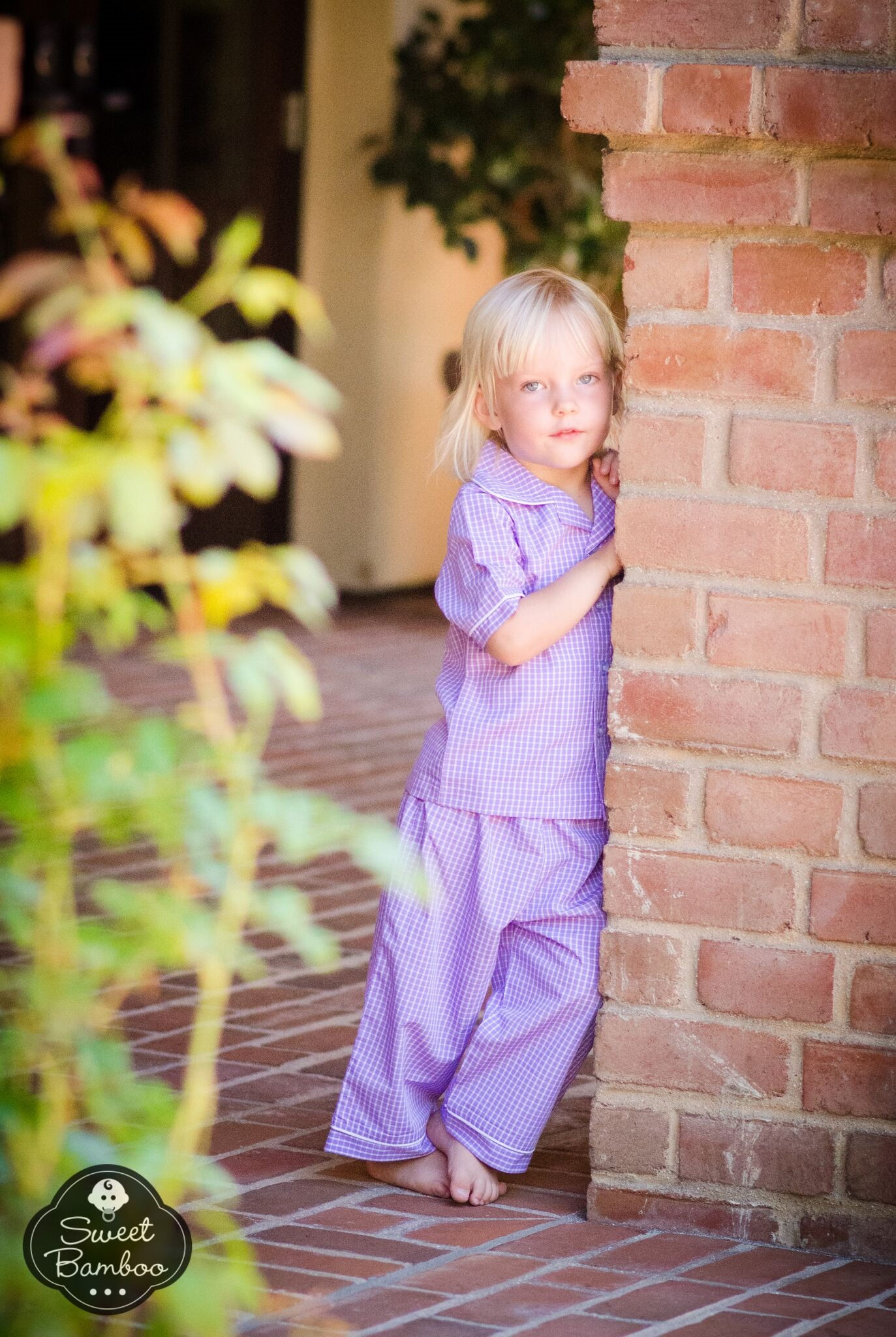 Sweet Bamboo purple gingham children's pajama set