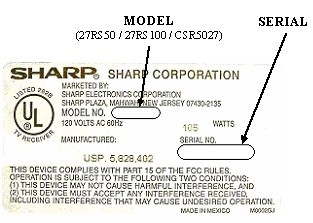 Picture of Label on Recalled Television
