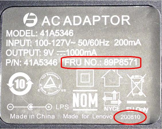 Picture of Recalled AC Adaptor Label