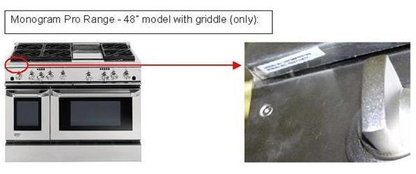 Picture of Recalled Monogram Pro Range 48 inch model with griddle