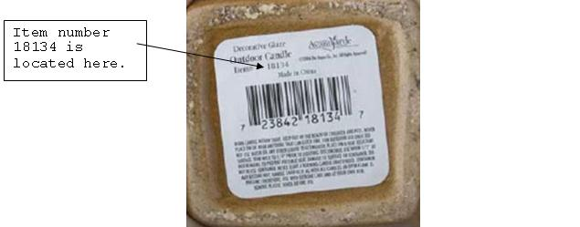 Picture of Recalled Decorative Glaze Outdoor Candle Label