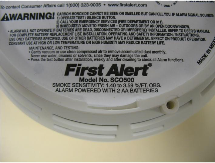 picture of label on smoke and combination smokeco alarms - First Alert Smoke Alarm
