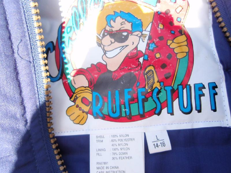 Recalled Ruff Stuff jacket label