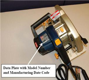 Picture of Recalled Corded Circular Saw indicating data plate with model number and manufacturing date code
