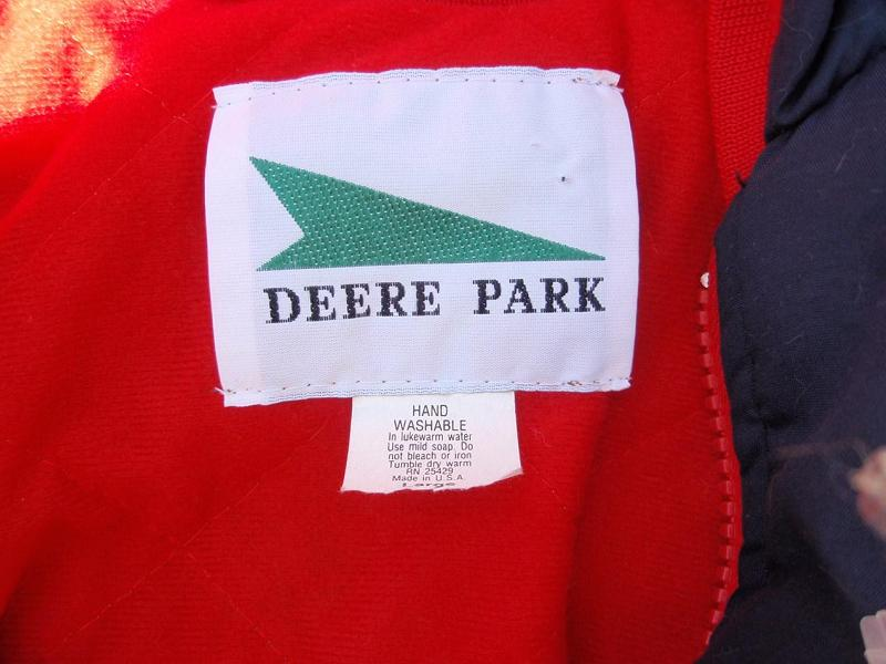 Recalled Deere Park jacket label