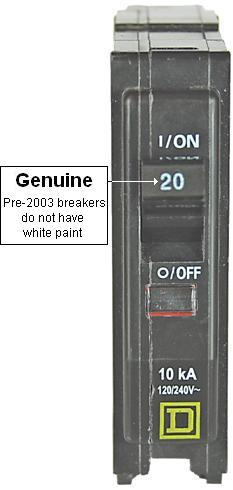 Picture of Genuine Square D Circuit Breaker