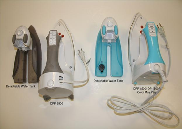 Picture of Recalled Clothing Irons (DPP 3500 with detachable water tank on left and DPP1500/DP1500R with detachable water tank on right