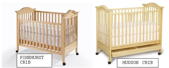Picture of Recalled Drop Side Cribs, with Pinehurst Crib on left and Hudson Crib on right