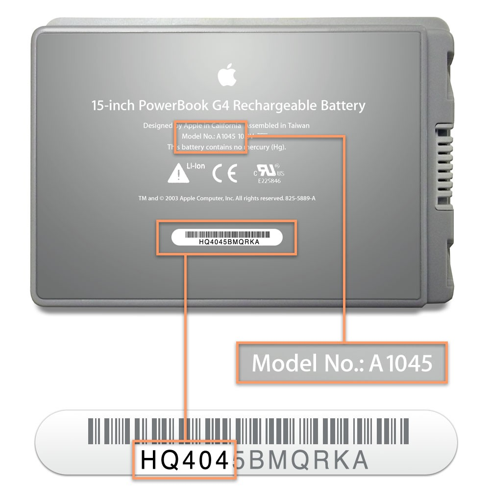 Picture of Recalled PowerBookComputer Battery