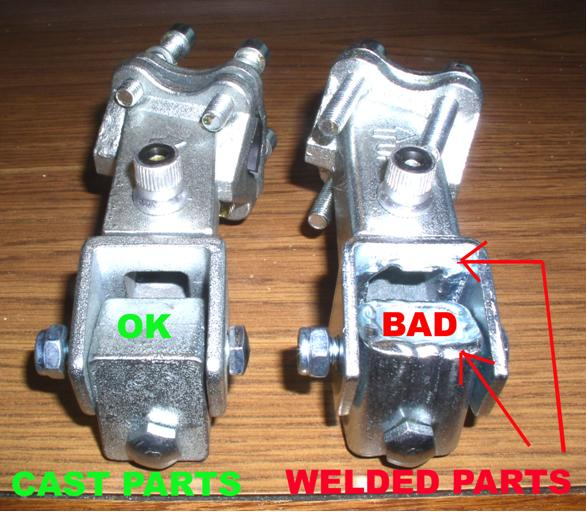 Picture of Good (Cast) and Bad (Welded) Parts