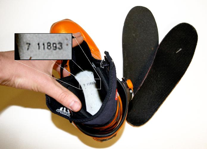 Picture of Location of 6-digit Lot Number on Recalled Cross-Country Boots