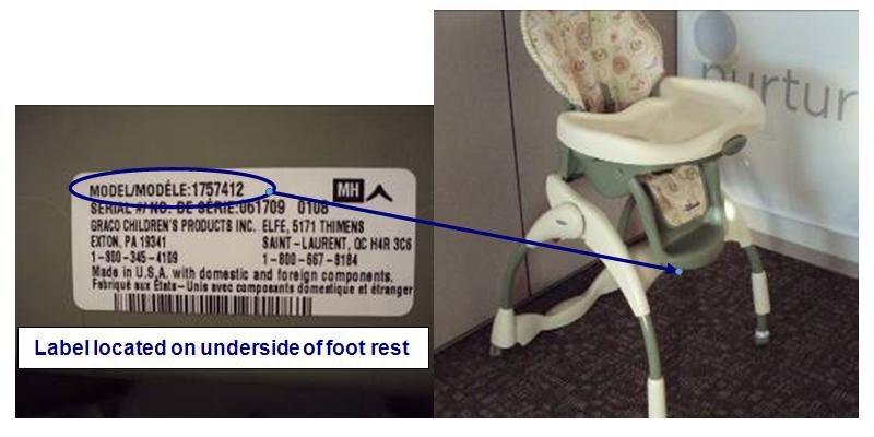 Picture of Recalled High Chair and Label