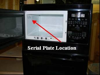 Picture Of Recalled Microwave With Location Model And Serial Numbers