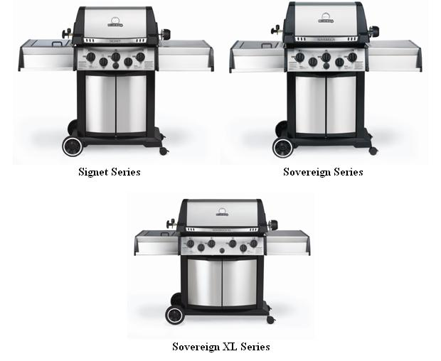 Picture of Recalled Broil King Gas Grills (Signet series - TOP Left, Sovereign series - TOP Right, Sovereign XL series - Bottom)