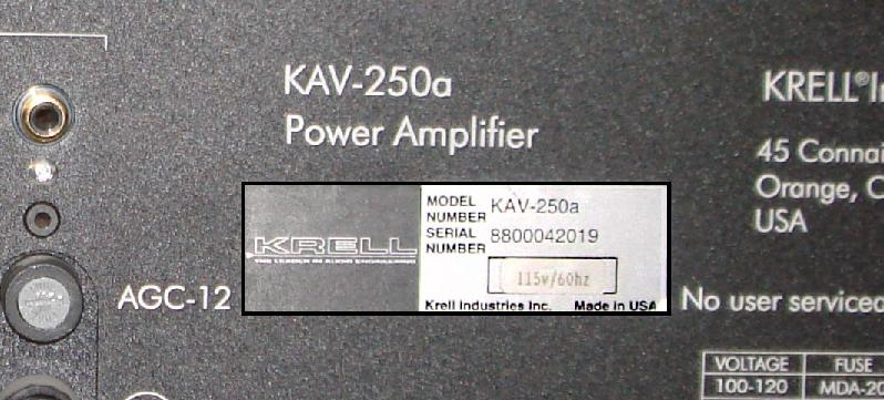 Picture of Recalled Amplifier Label