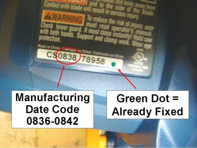 Picture of Recalled Corded Circular Saw showing manufacturing date code 0836-0842 and a green dot indicating this saw was already fixed.