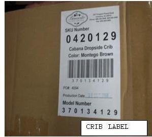 Picture of Recalled Drop Side Crib Label