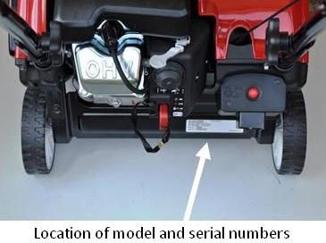Picture of Recalled Snow Blower showing the location of model and serial numbers
