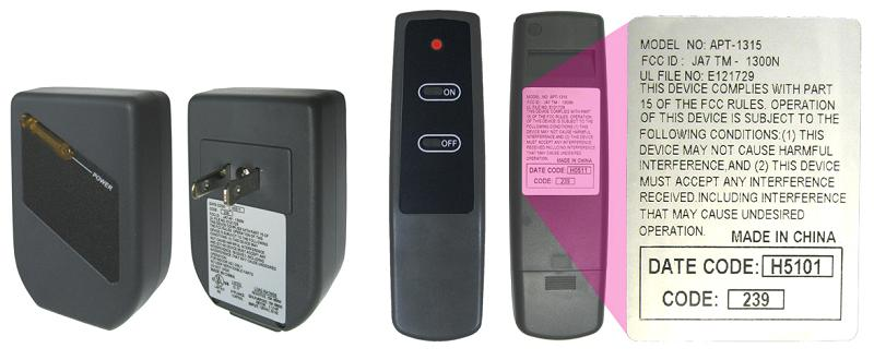 Recalled remote control showing label for model APT-1315