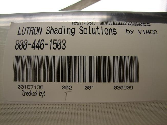Picture of Recalled Roller Shade showing label