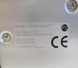 Picture of Recalled IonizAir(tm) Table Top Air Purifiers Label