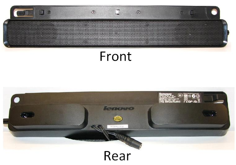 Picture of front and rear of ThinkVision Soundbar