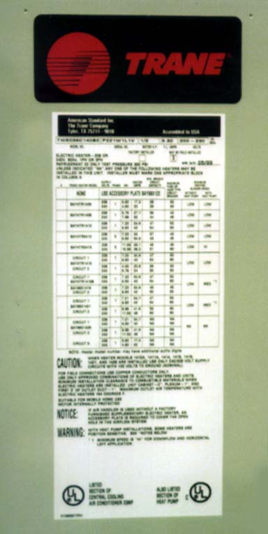 Picture of Information Posted on the Air Conditioner