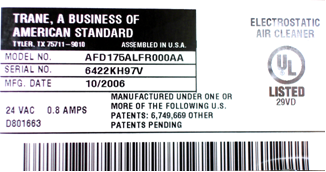 Picture of Label with Identification of Serial Number