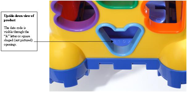 Picture of Recalled Shape Sorting Toy Castle Date Code Location