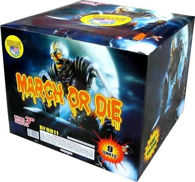 Picture of Recalled March or Die Mine/Shell Fireworks Device Box
