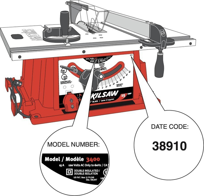 Cpsc robert bosch tool corp announce recall of skil table saws drawing of recalled table saw greentooth Choice Image